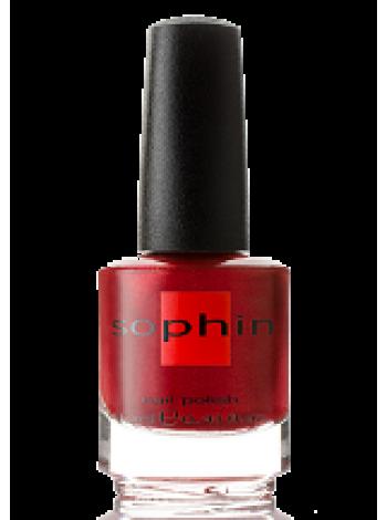 Алый лак для ногтей Sophin с мелким розовым шиммером