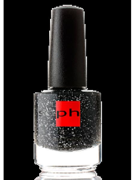 Лак Sophin №0327 (светло-чёрный, с белым глиттером)